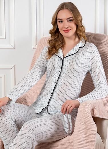 Elitol Önden Düğmeli Uzun Kol Pijama Takım Mavi